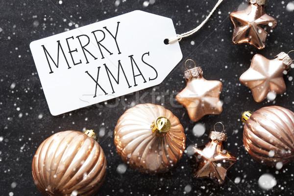 Bronz karácsony golyók hópelyhek szöveg vidám Stock fotó © Nelosa