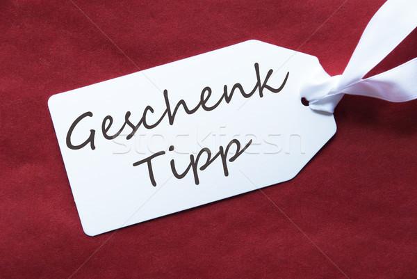 Een label Rood geschenk tip tekst Stockfoto © Nelosa