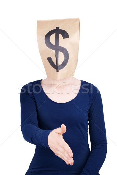 person with paper bag head and dollar sign Stock photo © Nelosa