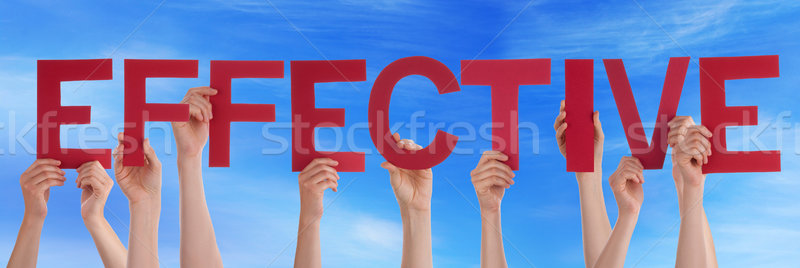 Many People Hands Holding Red Straight Word Effective Blue Sky Stock photo © Nelosa