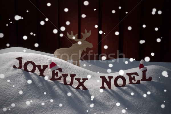 Joyeux Noel Means Merry Christmas With Moose Stock photo © Nelosa