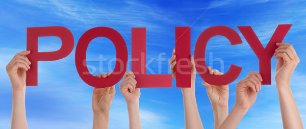 Many People Hands Holding Red Straight Word Policy Blue Sky Stock photo © Nelosa