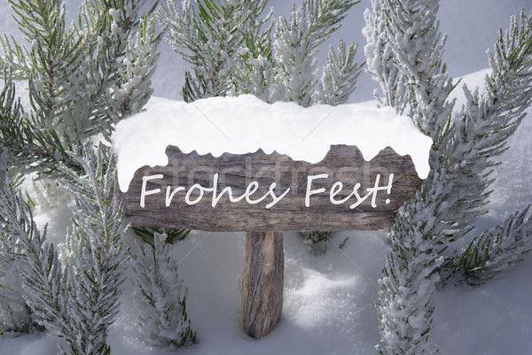 Sign Snow Fir Tree Frohes Fest Means Merry Christmas Stock photo © Nelosa