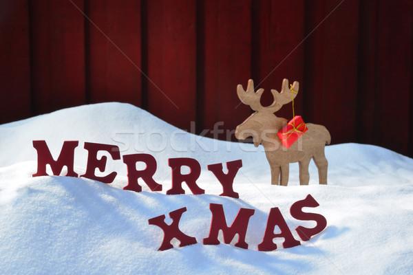 Eland geschenk sneeuw vrolijk kerstmis Stockfoto © Nelosa
