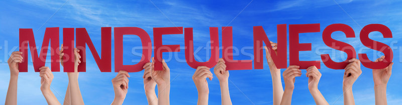 Stock photo: Many People Hands Holding Red Straight Word Mindfulness Blue Sky