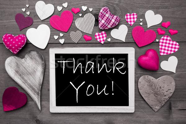 Chalkbord With Many Pink Hearts, Thank You Stock photo © Nelosa
