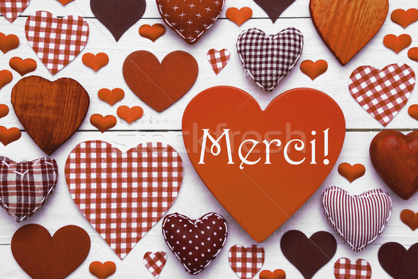 Brown Heart Texture With Merci Means Thank You Stock photo © Nelosa