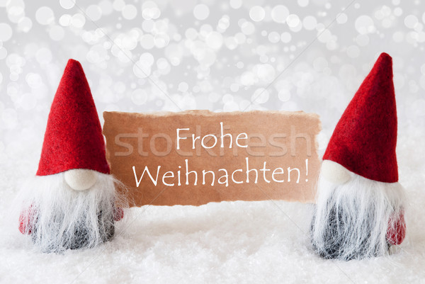 Red Gnomes With Card, Frohe Weihnachten Means Merry Christmas Stock photo © Nelosa