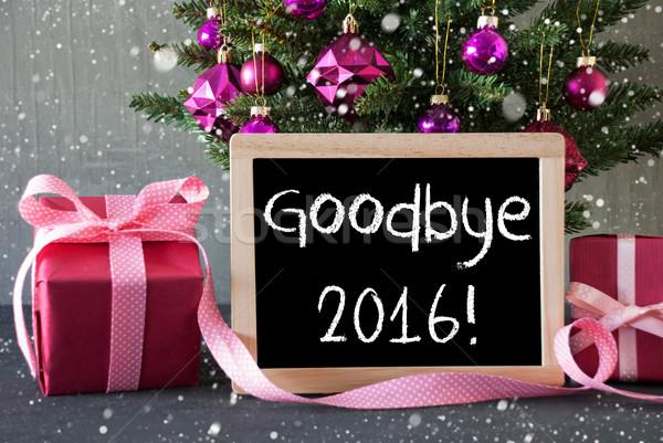 Boom geschenken sneeuwvlokken tekst vaarwel 2016 Stockfoto © Nelosa