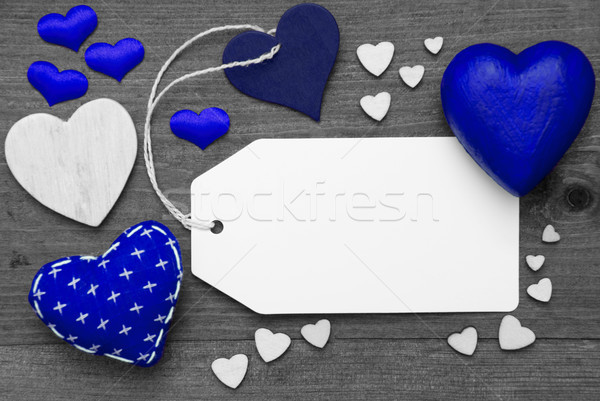 Label, Black And White, Blue Hearts, Copy Space Stock photo © Nelosa