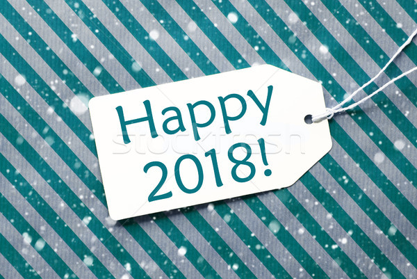 Label On Turquoise Paper, Snowflakes, Text Happy 2018 Stock photo © Nelosa