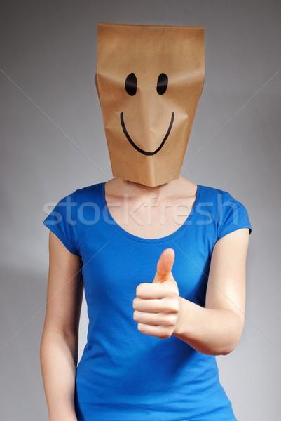 Geluk persoon succes grijs gelukkig leuk Stockfoto © Nelosa
