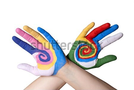 hand with smiling fingers Stock photo © Nelosa