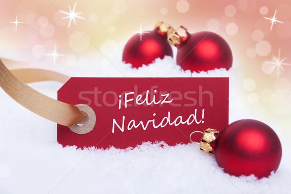 Kırmızı etiket İspanyolca sözler neşeli Noel Stok fotoğraf © Nelosa