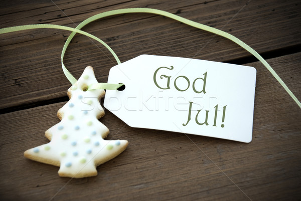 Christmas Label with God Jul Stock photo © Nelosa