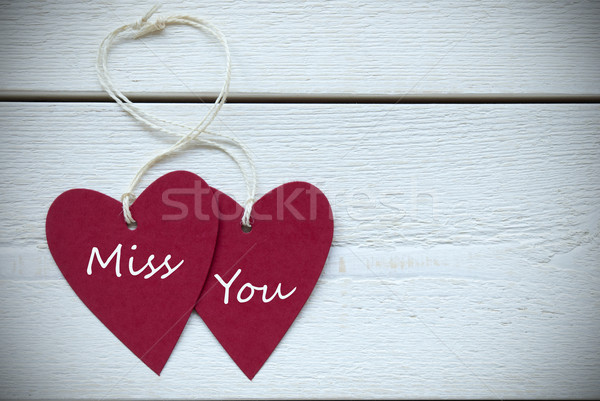 Two Hearts Label With Miss You Stock photo © Nelosa