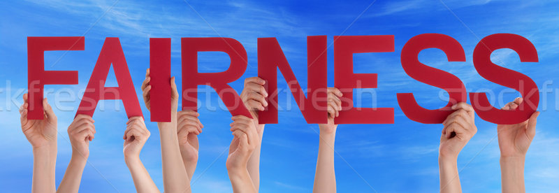Hands Holding Red Straight Word Fairness Blue Sky Stock photo © Nelosa