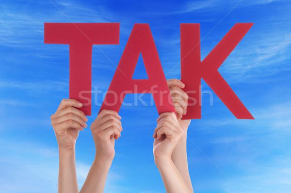 People Hold Straight Danish Tak Mean Thanks Sky Stock photo © Nelosa