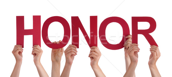 Many People Hands Holding Red Straight Word Honor Stock photo © Nelosa