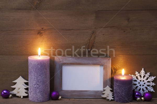 Purple Christmas Decoration With Candles Picture Frame Stock photo © Nelosa