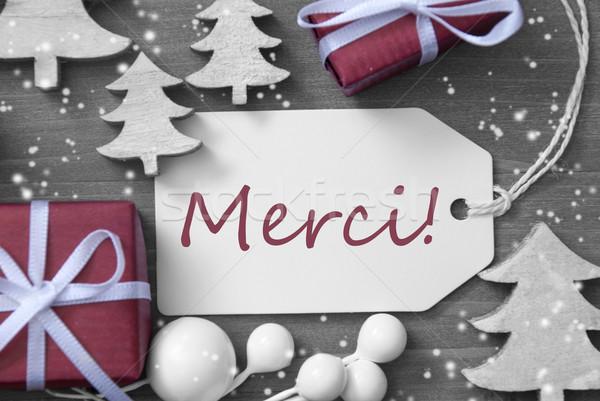 Christmas Label Gift Tree Snowflakes Merci Means Thank You Stock photo © Nelosa