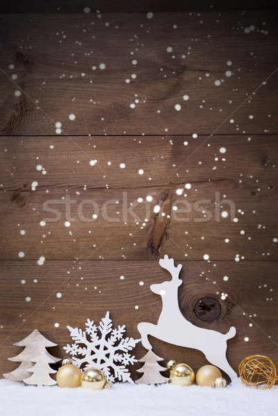 Vertical White, Golden Christmas Card With Copy Space, Snowfalke Stock photo © Nelosa