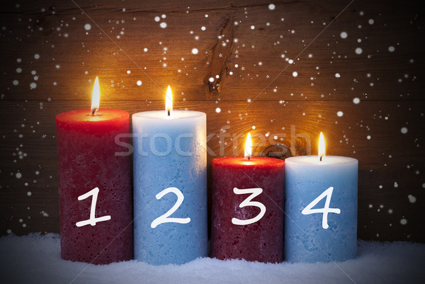 Christmas Card With Four Candles For Advent, Snowflakes Stock photo © Nelosa