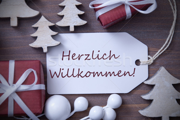 Christmas Label Gift Tree Herzlich Willkommen Means Welcome Stock photo © Nelosa