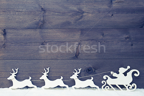 White Vintage Santa Claus Sled, Reindeer, Snow, Copy Space Stock photo © Nelosa