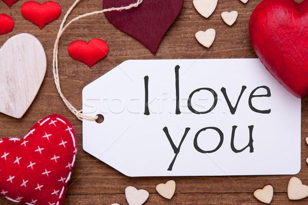 One Label, Red Hearts, I Love You, Macro Stock photo © Nelosa