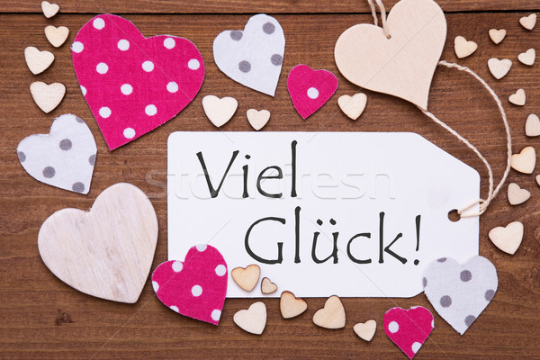 Label With Pink Heart, Viel Glueck Means Good Luck Stock photo © Nelosa
