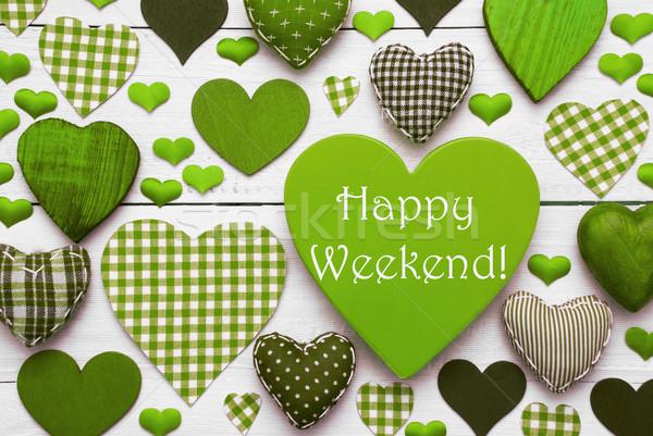 Zielone serca tekstury szczęśliwy weekend angielski Zdjęcia stock © Nelosa