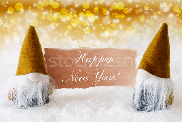 Golden Noble Gnomes With Card, Text Happy New Year Stock photo © Nelosa
