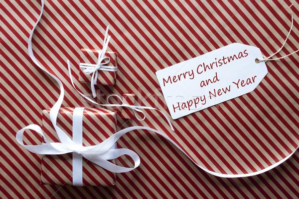 Сток-фото: подарки · Label · текста · веселый · Рождества · с · Новым · годом