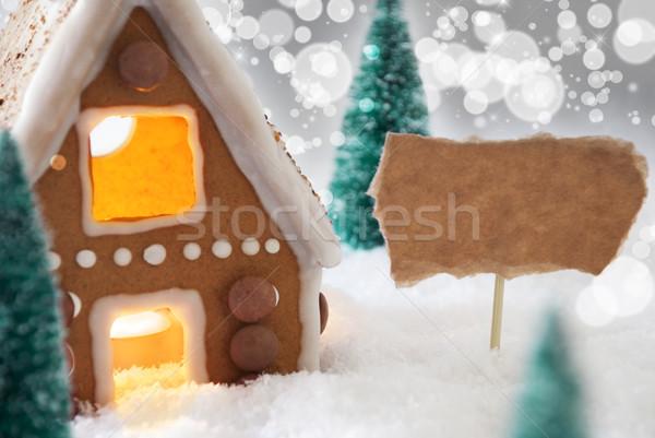 Piernik domu srebrny kopia przestrzeń dekoracje christmas Zdjęcia stock © Nelosa
