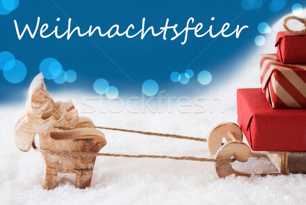 Reindeer With Sled, Blue Background, Weihnachtsfeier Means Christmas Party Stock photo © Nelosa