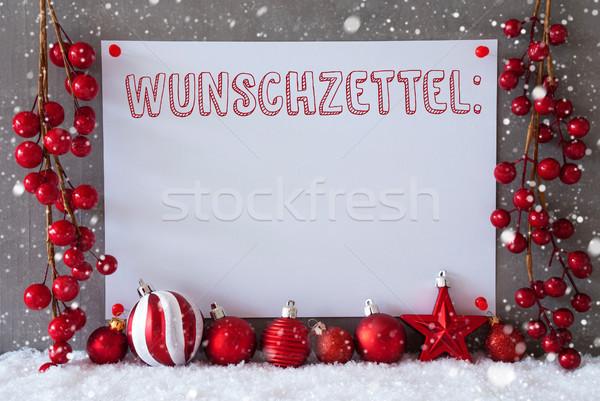 Címke hópelyhek karácsony golyók kívánság lista Stock fotó © Nelosa