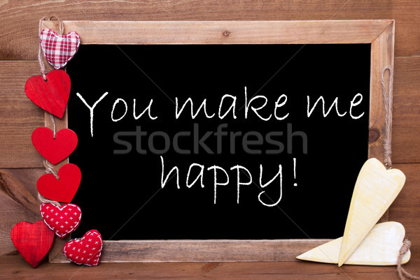 Chalkbord, Red And Yellow Hearts, Quote You Make Me Happy Stock photo © Nelosa