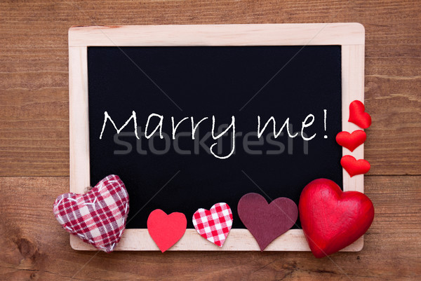 Chalkbord, Red Fabric Hearts, Text Marry Me Stock photo © Nelosa