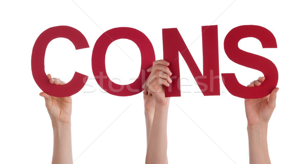 Many People Hands Holding Red Straight Word Cons  Stock photo © Nelosa