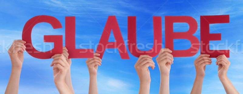 Pessoas em linha reta palavra crença blue sky muitos Foto stock © Nelosa