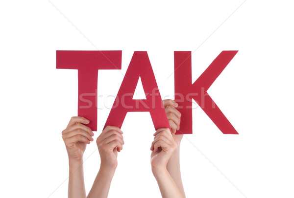 People Hold Straight Danish Word Tak Means Thanks Stock photo © Nelosa