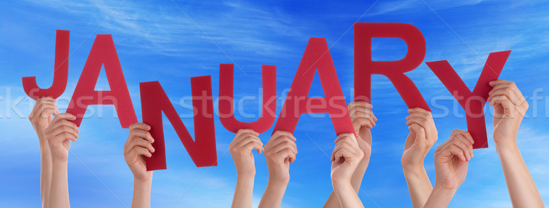 People Hands Holding Red Word January Blue Sky Stock photo © Nelosa