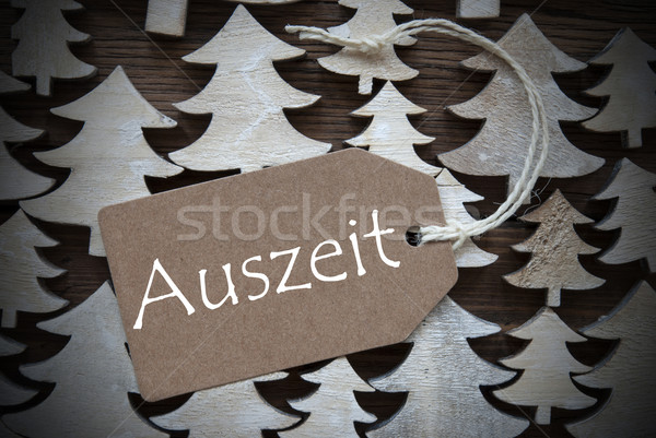 Brown Christmas Label With Auszeit Means Downtime Stock photo © Nelosa