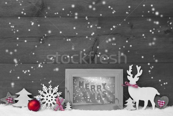 Zwart wit Rood christmas sneeuwvlokken frame vrolijk Stockfoto © Nelosa