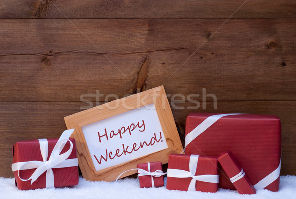 Red Christmas Decoration, Gifts, Snow, Happy Weekend Stock photo © Nelosa