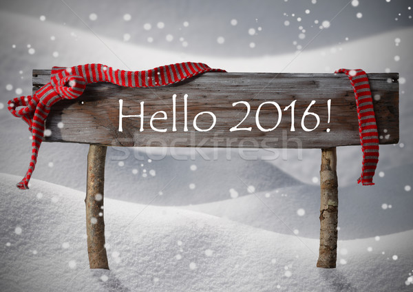 Stock photo: Brown Christmas Sign Hello 2016, Snow, Red Ribbon, Snowflakes