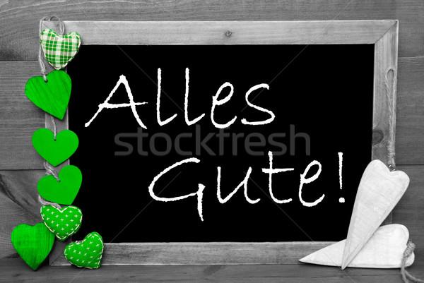 Szary zielone serca gratulacje Tablica tekst Zdjęcia stock © Nelosa