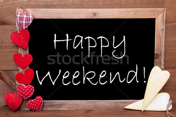 Een Rood Geel harten gelukkig weekend Stockfoto © Nelosa