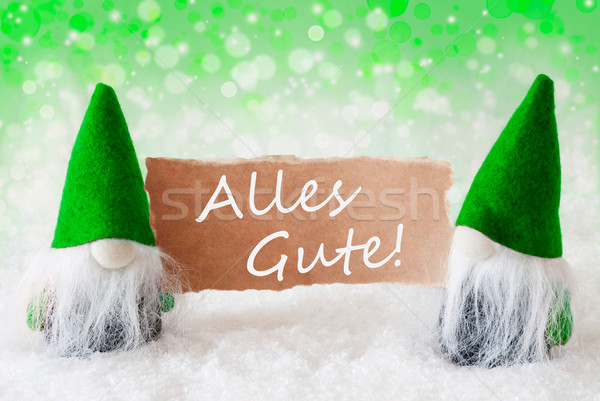 Green Natural Gnomes With Card, Alles Gute Means Best Wishes Stock photo © Nelosa